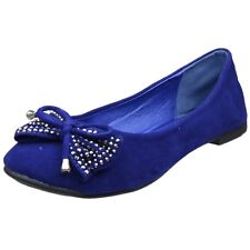 Womens Ballet Flats Studded Bow Tassel Accent Faux Suede Shoes Blue
