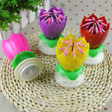 Amazing Romantic Musical Lotus Rotating Happy Flower Party Cake Birthday Candle