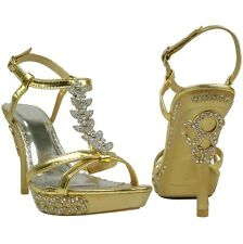 Womens' Gold Sexy High Heel  Dress Platform Sandals T-Strap Rhinestones Sz 5-10