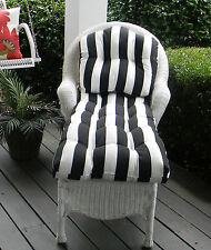 Cushion for Wicker Chaise Lounger Lounge Chair, Tufted, Choose Solids or Stripes