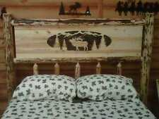 Twin Full Queen King PANEL Rustic Pine Log Bed w/ Elk, lodge cabin moose country