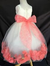Flower Girl Bridesmaids Summer Ivory Lace Coral Petal Dress Pageant Easter