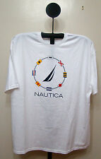 N-6 - Nautica Flags Red Black Blue White Short Sleeve Crew Neck T Shirt Size 2XL