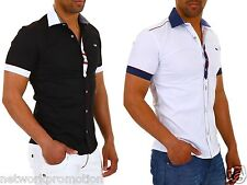 CARISMA Mens plain cotton shirt Classic spread collar Formal Casual Short sleeve