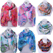 Fashion Women Ladies Flower Chiffon Scarf Soft Shawl Silk Wrap Neck Warm Stole