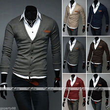 New Style Men Slim Fit Button Down Cotton Knit V Neck Fashion Sweater Cardigan
