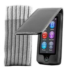 PU Leather Flip Case Cover Pouch For Apple iPod Nano 7G 7th Generation & Sock