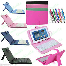 Universal Leather Kickstand Case w/ Micro USB Wired Keyboard For Android Tablet