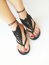 Barefoot Sandals Crochet Foot Jewelry Ankle Anklet White Cotton Bracelet Chain