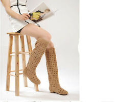 womens hollow out flat knee high sandal boots round toe suede summer shoes size