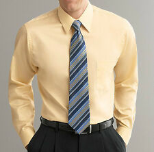 New Arrow Classic-Fit Point-Collar Sateen Dress Shirt Light Maize MSRP $45
