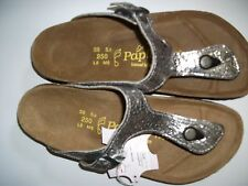 PAPILLIO LIC.BIRKENSTOCK - GIZEH - SILVER/BLACK LEATHER RRP $145 SAVE $25