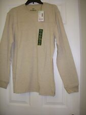 OUTDOOR LIFE MENS SMALL MEDIUM BEACHWOOD BEIGE CREW LONG SLEEVE SHIRT NEW TAGS