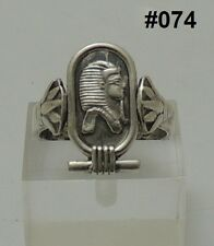 "Hall Marked Egyptian Pharaonic Silver Rings ""Scarab,Ankh,Eye of Horus,King Tut """