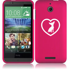 For HTC Desire 510 Rubber Hard Snap On 2 Piece Case Cover Chihuahua Heart
