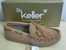 New Mens Dr Keller Sheamus Leather Suede Moccasin Slippers Tan Size 6 7 8 9 10