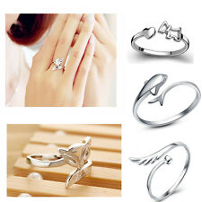 925 Silver Plating Ring Finger Fashion Women Lady Ring Opening Adjustable GIFT