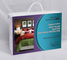 """LUXURY EGYPTIAN COTTON EXTRA DEEP 12"""" QUILTED MATTRESS PROTECTOR 115GSM"""