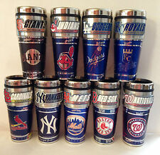 MLB Stainless Steel Coffee Mug/Travel Tumbler Insulated ~16 OZ~ Metallic Logo