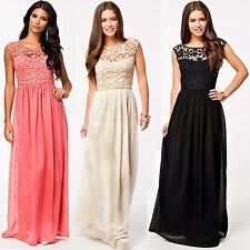 VINTAGE Designer Bridesmaid Chiffon Lace Long Prom Evening Party Gown Maxi Dress