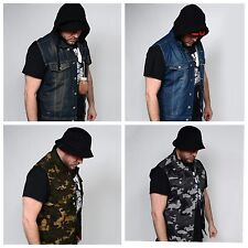 Men's NEW Premium Raw Denim Color Vest casual Jacket JEAN VEST Size S-3XL CAMO