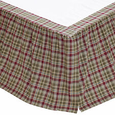 Green + Burgundy Gathered Dust Ruffle Country Plaid Platform Bed Skirt - Jackson