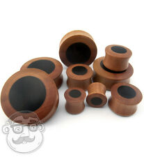 Saba Wood Plugs With Sono Wood Inlay Sizes / Gauges (00 Gauge - 32mm) 1 PAIR