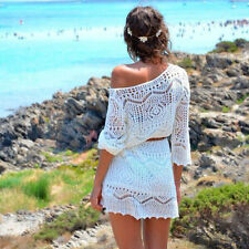 Sexy Women Hollow Out White Lace Dress Beach Party Dresses With Belt Cheap