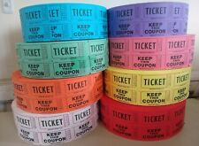 5 ROLLS OF 1000  50/50 DOUBLE STUB ROLL RAFFLE TICKETS
