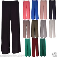 New Womens Ladies Plus Size Plain Palazzo Wide Leg Flared Trousers Legging Pants