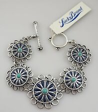 LUCKY BRAND Turquoise Flower Antique Silver Tone Bohemian Bracelet! NWT & SIGNED