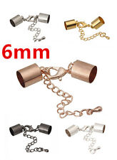 50 Bead Ends Cap Cord with Lobster Clasp and Extension Chain inner Hole 6mm EC34