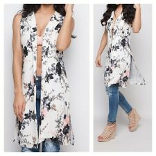 NEW WOMENS LADIES FLORAL PRINT STYLISH LOOK CASUAL LONG DUSTER WAISTCOAT JACKET