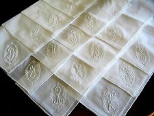 New White Victorian Embroidery Initial Monogrammed Letter Wedding Bridal Hanky