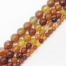 4,6,8,10,12mm Faceted Beautiful Amber Agate Round Loose Beads 14.5""