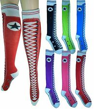 Womens Sneaker Converse Novelty Shoe sneaker design Knee High Socks 9-11