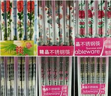 Chopsticks 5 pairs Japanese lady traditional flower stainless steel pack gift