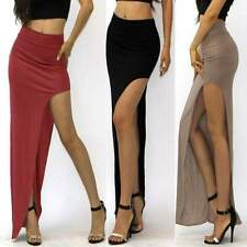 Women's Summer High Waist Rayon Jersey Side Open Leg Slit Split Long Maxi Skirt