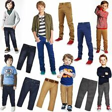 KIDS BOYS CHINO TROUSERS JEANS SLIM FIT SKINNY PANTS ADJUSTABLE WAIST AGE 2-8Yrs
