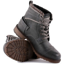 Mustang 4084604 Mens Ankle Boots Synthetic Leather Dark Grey New Shoes 7 9 10