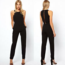 Sexy Damenmode Lange Jumpsuit Overall Haremshose Sommeroverall Overalls Schwarz