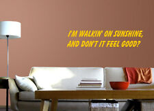 I'm Walking On Sunshine (Katrina and the Waves) Lyric wall decal sticker quote