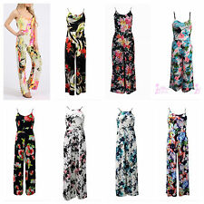 NEW WOMENS LADIES FLORAL PRINT STRAPPY PALAZZO TROUSER LOOK ALL IN ONE JUMPSUIT