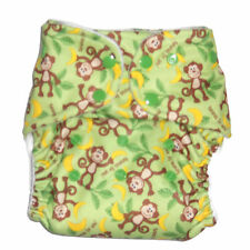 AIO Cloth diaper w/ Bamboo Hemp Fleece & Zorb Fabric- Monkey Pattern