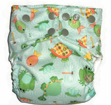 AIO Cloth diaper w/ Bamboo Hemp Fleece & Zorb Fabric- Frog & turtle Pattern