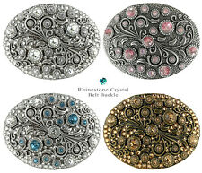 Decorative Antique Oval with Crystals Engraved Belt Buckle