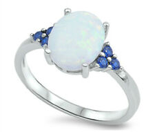 Sterling Silver 925 PRETTY OVAL WHITE LAB OPAL WITH CZ ENGAGEMENT RING SIZE 4-12