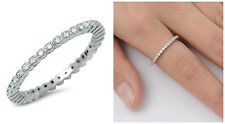 925 Sterling Silver 2MM STACKABLE ETERNITY CLEAR CUBIC ZIRCONIA RING SIZES 4-10
