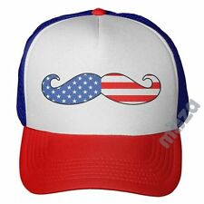 American Flag Mustache Trucker Hat Cap Independence Day 4th Of July Patriotic