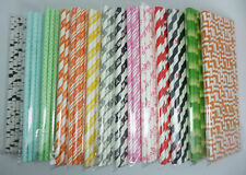 25 Paper Straws Multicolor Pattern Drinking Straw For Party Wedding Birthday